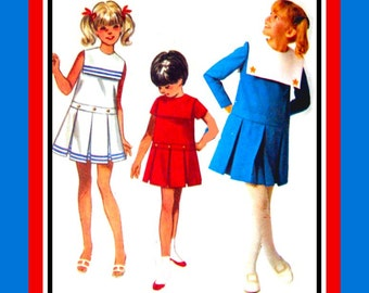 Vintage 1960s- GIRLS SAILOR DRESS- Sewing Pattern- Three Styles -Deco Style Dropped Waist- Pleated Skirt -Braid Trim Detail -Size 8 -Rare
