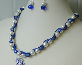 WOMEN'S UK WILDcats Blue White PENDant COLLege SPORTS Teacher Co-Worker BIRTHday HOLIday Gift STOCKing Stuffer  Necklace Set By DYEnamite