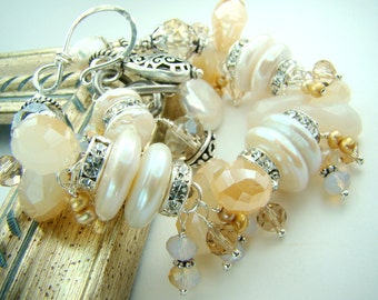 Crystal charm bracelet, chunky pearl bracelet, pale topaz... Milk and Honey