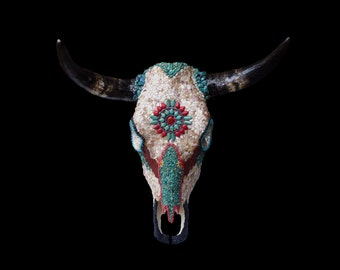 Mosaic Decorated Bull Cow Skull Southwestern Native American Style Mosaic Wall Decor with Mother of Pearl and Turquoise