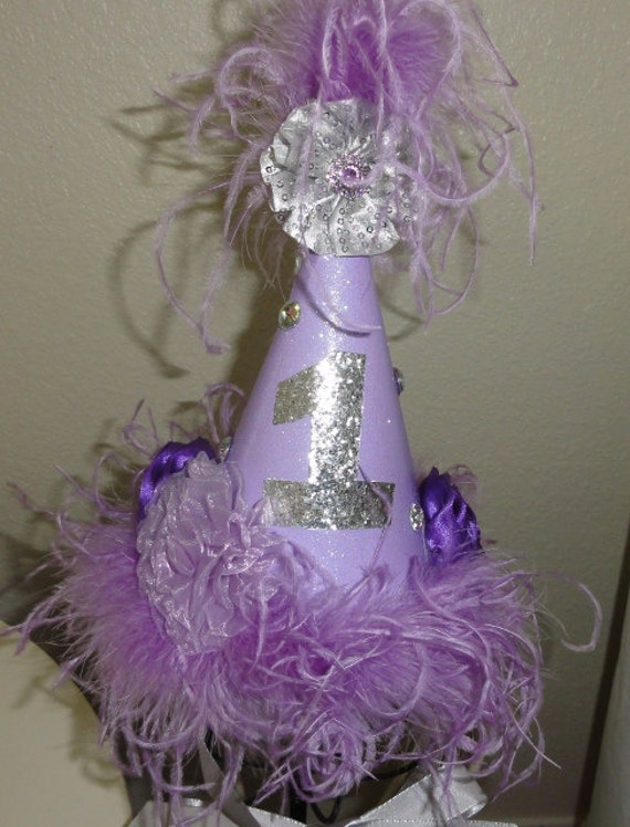 Girls Glitter Birthday Hat First Birthday Hat Lavender Party Hat for Photo Shoot