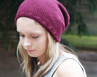 Burgundy, Hand Knitted, Slouchy, Skater, Vegan,  Knit Hat,  Unisex Beanie, Tam,  Dreads Hat, Slouch hat