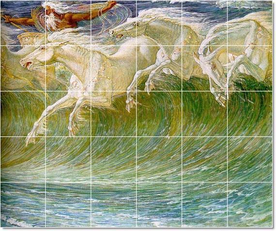 S m l xl custom ceramic mythology painting tile mural the for Ceramic mural artists