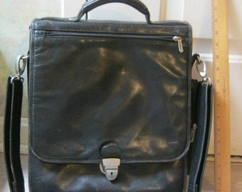 Vintage sturdy thick black leather briefcase, black leather shoulder bag, black travel bag, black leather book bag Bellino