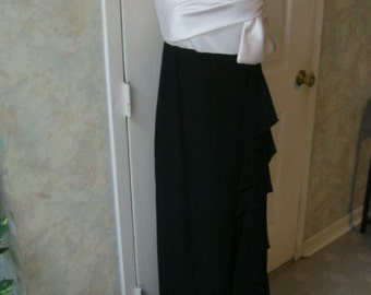 Vintage Morton Myles black white evening gown, black white formal gown, black tie gown for Saks Fifth Avenue size S or 4/6