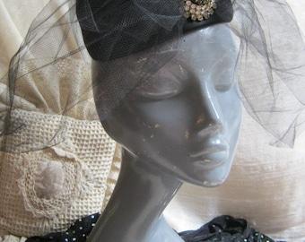 Vintage black Hattie Carnegie pillbox hat, pillbox hat with netting, jewelled high fashion designer hat, Union label