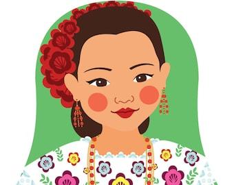 Mexican Yucatan Wall Art Print featuring traditional dress drawing in a Russian matryoshka nesting doll shape