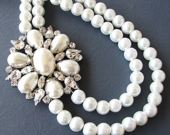 Bridal Jewelry Bridal Necklace Pearl Crystal Necklace Wedding Jewelry Wedding Necklace Pearl Jewelry