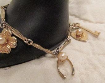 1950's Charm Bracelet with faux Pearls SALE