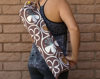 Yoga Mat Bag Handmade in brown floral print NEUTRAL DAISIES Yoga Sling, Yoga Carrier, Yoga Tote, Yoga Bag