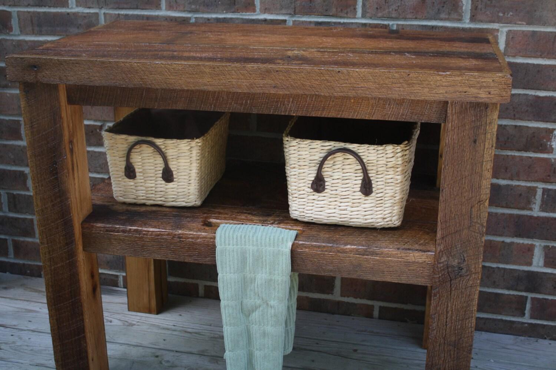 Your custom rustic barn wood vanity shelf or table free for Meuble bois de grange