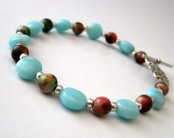 Amazonite and White Stone Bracelet