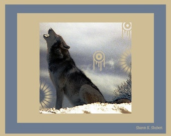 Black Howling Wolf Art, Southwestern Winter Snow, Native American Totem Animal, Blue Tan Home Decor, Wall Hanging, Giclee Print 8 x 10