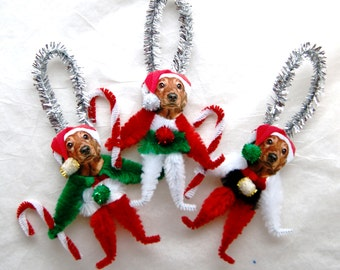 IRISH SETTER dogs set of 3 vintage style chenille Ornaments (142)