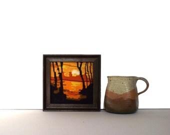 70s Needlepoint / Sunrise Sunset / Tiny Wall Art / Textile Art Reflection