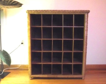 Large Wicker Cubby / Vintage Storage Unit / Pick Up Only