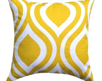 Yellow Modern Throw Pillow - Emily Corn Yellow Decorative Throw Pillow Free Shipping