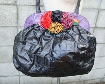 Black Purse Bag Vintage 1980s Flowers Big Huge Leather