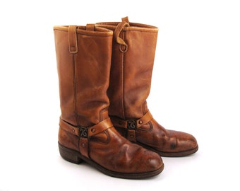Brown harness Boots Vintage 1970s  Leather Motorcycle Campus 1976 Boots Men's size 8 1/2