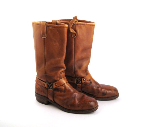 brown harness boots vintage 1970s leather motorcycle cus