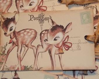 Baby Deer Vintage Postcard Gift Tags