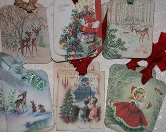 Christmas Tags Holiday Gift Tags - Variety Sampler Set - 12 Retro Tags