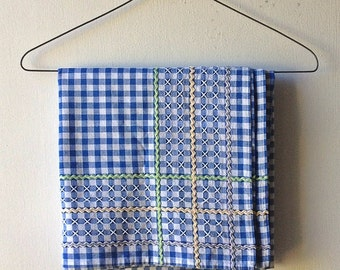 Vintage Blue and White Tablecloth - with cross stitch