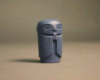 """Jizo - Polished navy blue porcelain - 2.5"""" tall"""