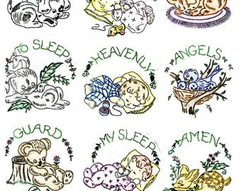 Hand Embroidery Pattern 7212 Now I lay me down to Sleep Quilt Pattern 1960s