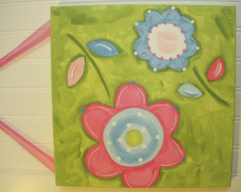 Girls canvas flower painting Baby nursery decor 12 x 12 Children room wall art Kid bedroom picture Daisy Lily of Valley Pink green blue folk