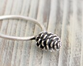 Pine cone sterling silver Ring - Christmas ring