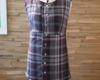 SALE Plaid School Girl Button Down Shirt~Ready to Ship~Maroon Plaid~Sleeveless Tunic~Size Medium/Large~Wool Fabric~Shirt Dress~Tunic Dress