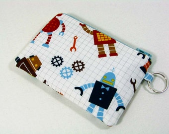 Robot Factory coin purse, credit card pouch wtih key ring -  organic fabric
