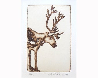reindeer - original etching and aquatint
