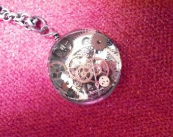 "Jewelry, Steampunk Necklace, Watch Parts, Shot Gun Shell, Clock Parts, Resin, Repurpose, Recycle, ""Time Standing Still"" - EK Original #007"