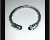 1986-87 NY Designer TEST Cable Cuff 5mm Bracelet with Black Bead