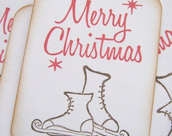 Merry Christmas Iceskate Gift Tags