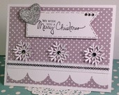 Modern Silver and White Christmas Card