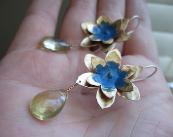 Lotus Flower Earring with faceted lemon quartz drop - Sky Blue or Blackberry wine patina