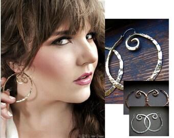 Medium Pound Swirl Hoop Earrings in Copper, Bronze, Sterling