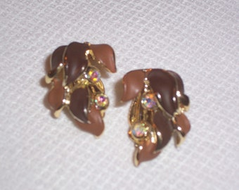 Vintage Brownish Clip On Earrings with Aurora Borealis Stones