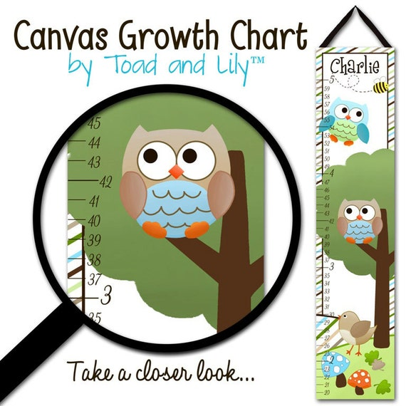Canvas GROWTH CHART Owls Love Stripes Boys Nature Forest Kids Bedroom Baby Nursery Wall Art