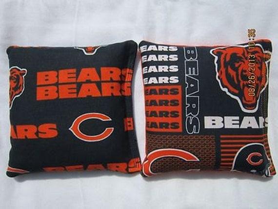 Chicago Bears Fabric Cornhole Bags FREE SHIP- Set of 8 Cornhole or Baggo Bean Bag Toss