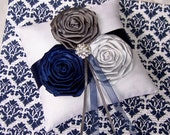 Ring Bearer Pillow / White Ring Pillow / Navy and Gray Ring Pillow / Navy wedding / Blue and Silver / White Pillow / custom colors available