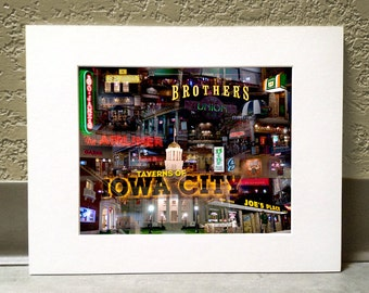 Taverns of Iowa City 16 x 20 Matted Print - Iowa City, Iowa