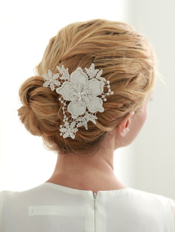 Bridal Hair With Pins : Wedding lace hair pin bridal flower by