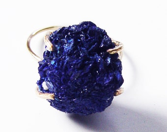 SALE Azurite Cluster Gold  Ring