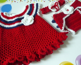 Patriotic Crocheted Baby Girl Dress, Headband & Diaper Cover     READY TO SHIP   Size Newborn to 6 months