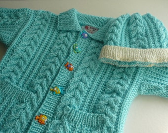 MADE TO ORDER                         Aran Cable Cardigan and Hat/Toddler/Aqua/Buttons              Size 2T