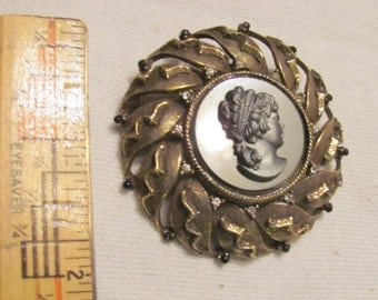 Cameo pin or pendant, black glass in gold metal with pewter face, special sale!